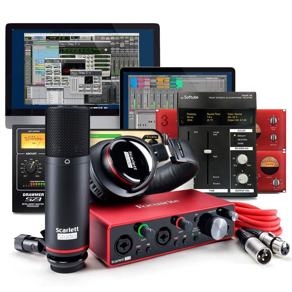 Focusrite Scarlett 2i2 Studio Bundle (Gen 3) 2-in, 2-out USB audio interface with a condenser microphone and headphones