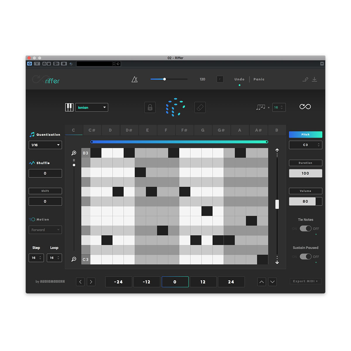 Audiomodern Riffer Creative Midi Sequencer Plug-In