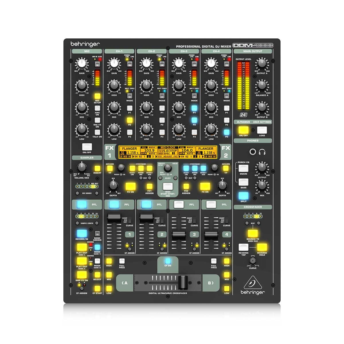 Behringer DDM4000 5-Channel Digital DJ Mixer with Sampler, 4 FX Sections, Dual BPM Counters and MIDI