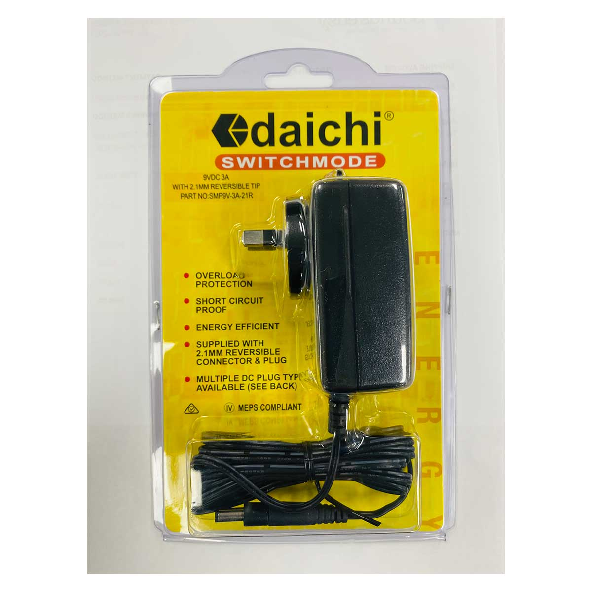 Daichi Switch Mode Power Supply 9VDC 3A with 2.1mm reversible tip