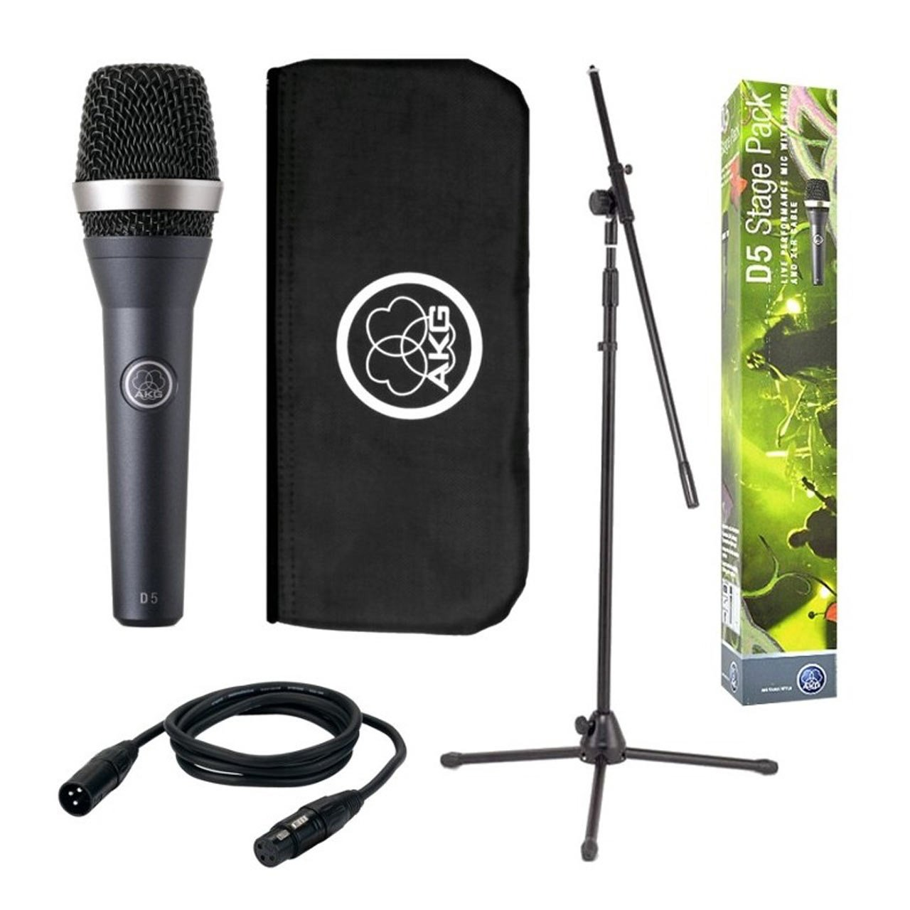 Dynamic Microphones - AKG D5 Stage Pack Microphone + Stand, Bag And Cable