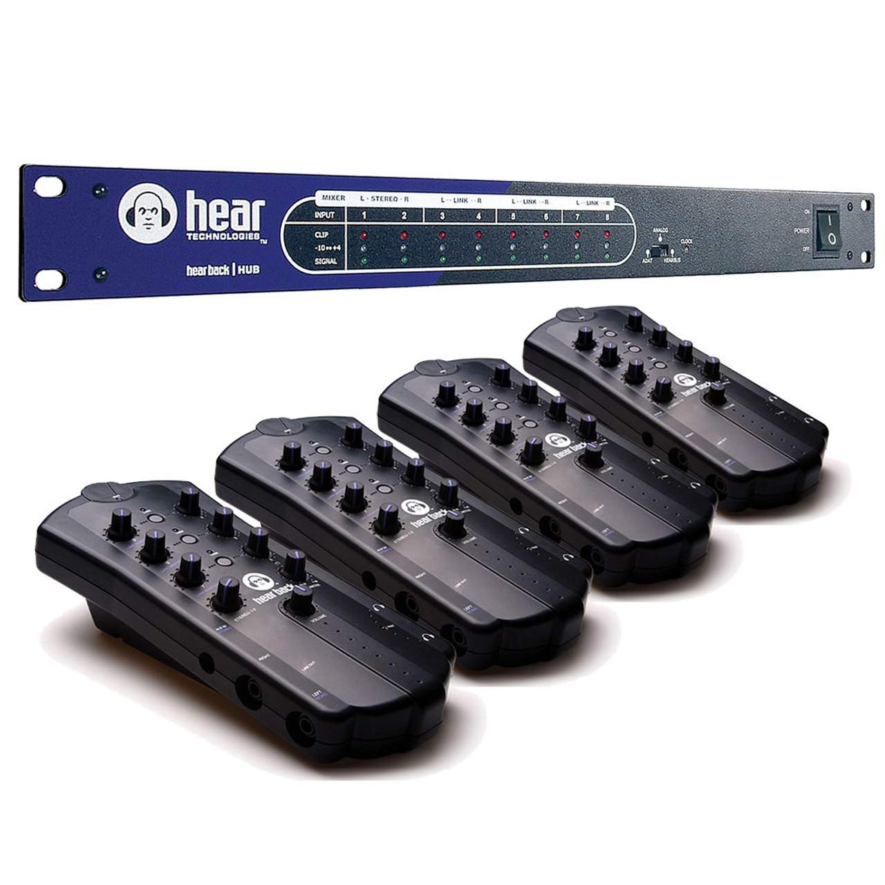 Headphone Amplifier - Hear Technologies Hear Back 8-Channel Personal Monitor Mixer System 4 Pack