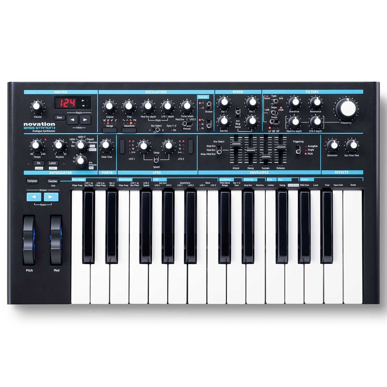 Keyboard Synthesizers - Novation Bass Station II Analogue Synthesizer Keyboard