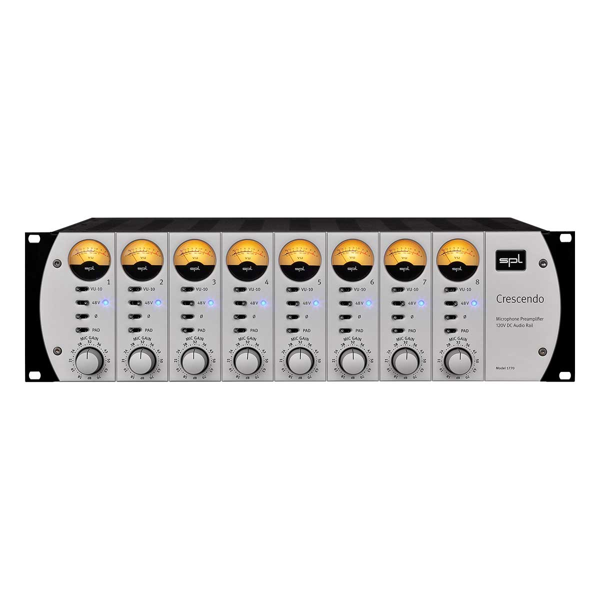 SPL Crescendo Eight-Channel Microphone Preamplifier featuring 120V Technology Front