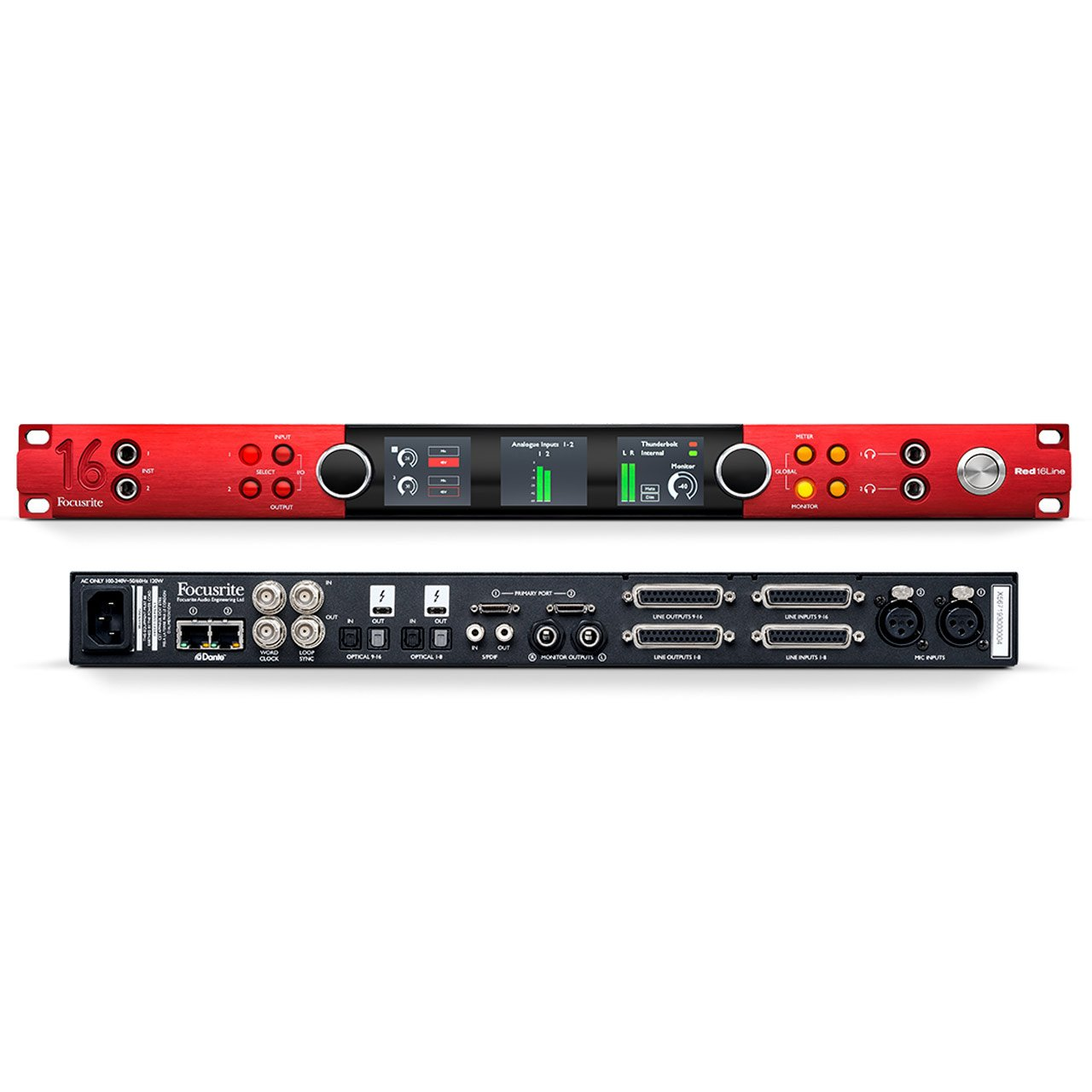 Thunderbolt Interfaces - Focusrite Red 16Line - 64 I/O Pro Tools | HD & Thunderbolt 3 Audio Interface, 32 Dante I/O