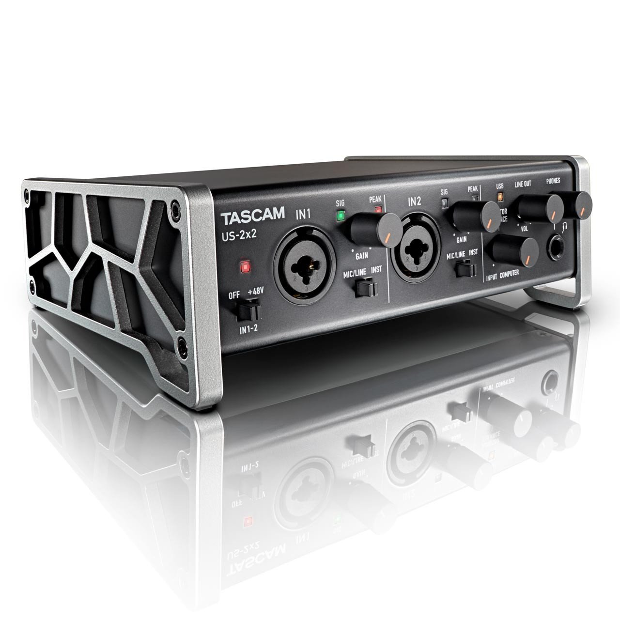 USB Audio Interfaces - TASCAM US-2x2 USB Audio/MIDI Interface With HDDA Mic Preamps And IOS Compatibility