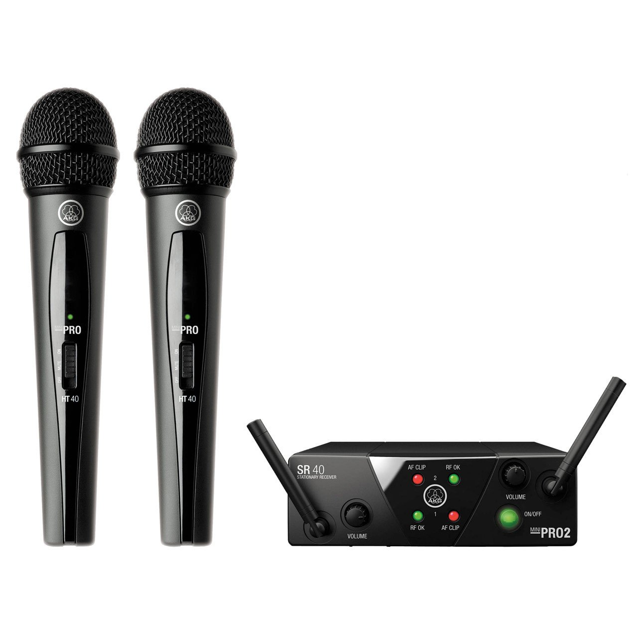 AKG WMS 40 PRO MINI 2 Dual Vocal Set Wireless Microphone System US25 A/C