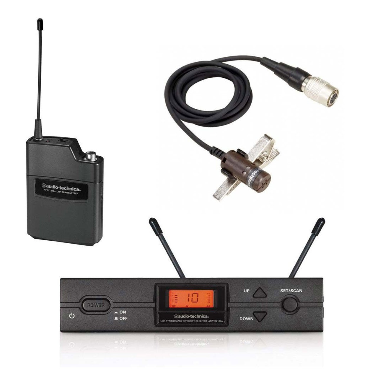 Audio-Technica ATW-2110/LD KIT - 2000 Series Receiver, Lapel Mic and Body Pack Transmitter