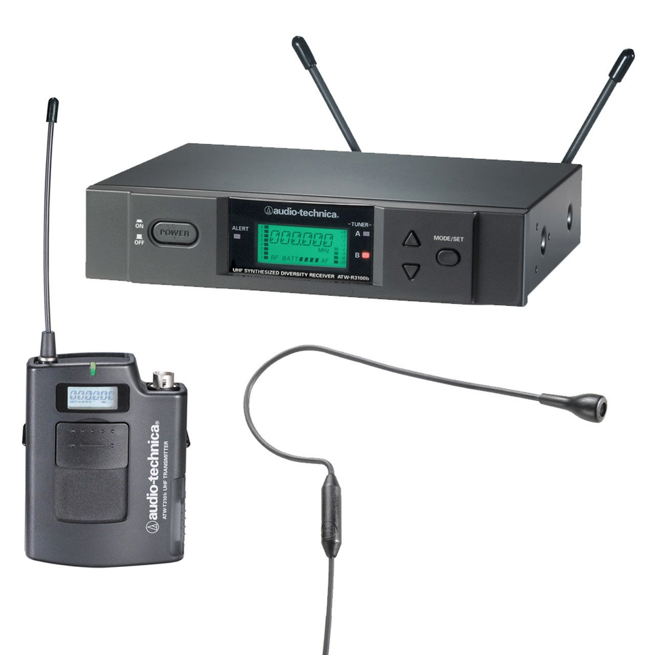 Wireless Systems - Audio-Technica ATW-3000Head92 - 3000 Series Receiver And Condenser Headworm Mic.