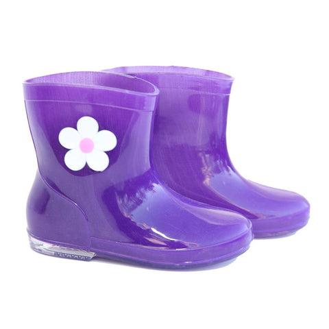 Infant's Purple Flower Wellies
