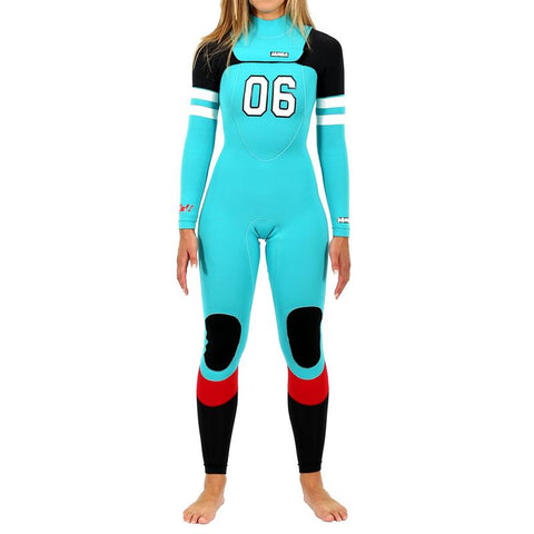 Janga Number 6 4mm/3mm Women's wetsuit Heather Blue/Black/Red