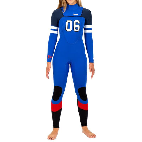 janga Number 6 3mm/3mm Women's wetsuit Ink Blue/Green/Red