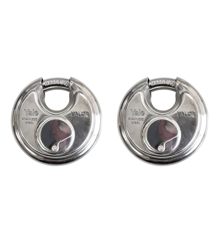 Valor Disc Padlocks, 70mm, Stainless Steel, two lock pack
