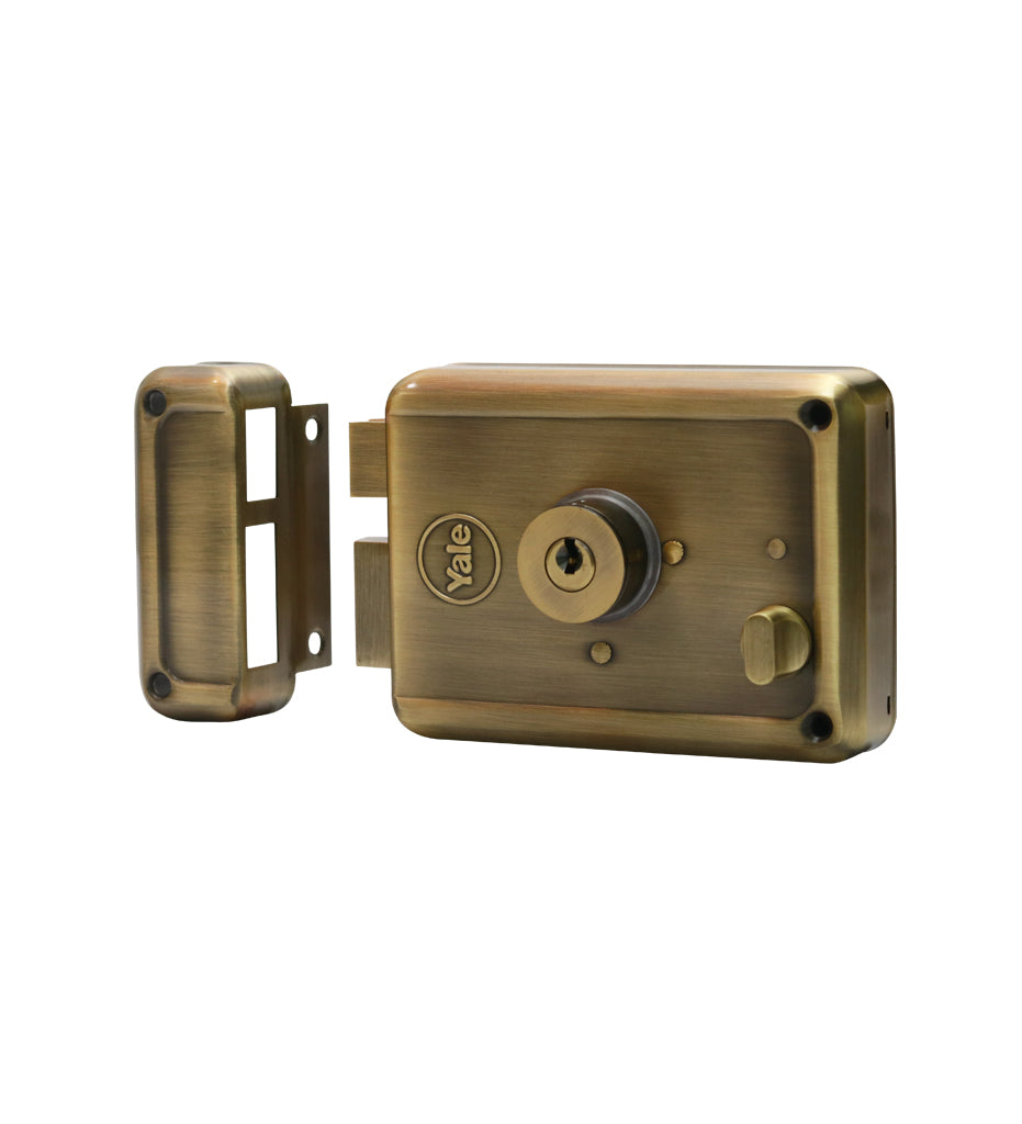 R601-DBDC-AB, RIM Lock With Two Deadbolts, Both Side Key, Regular Key, Antique Brass - Yale Online