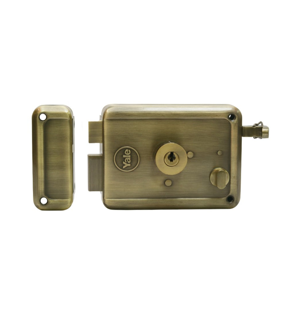 R600 DC DK AB, Main door rim lock, dimple Key, Antique Brass - Yale Online