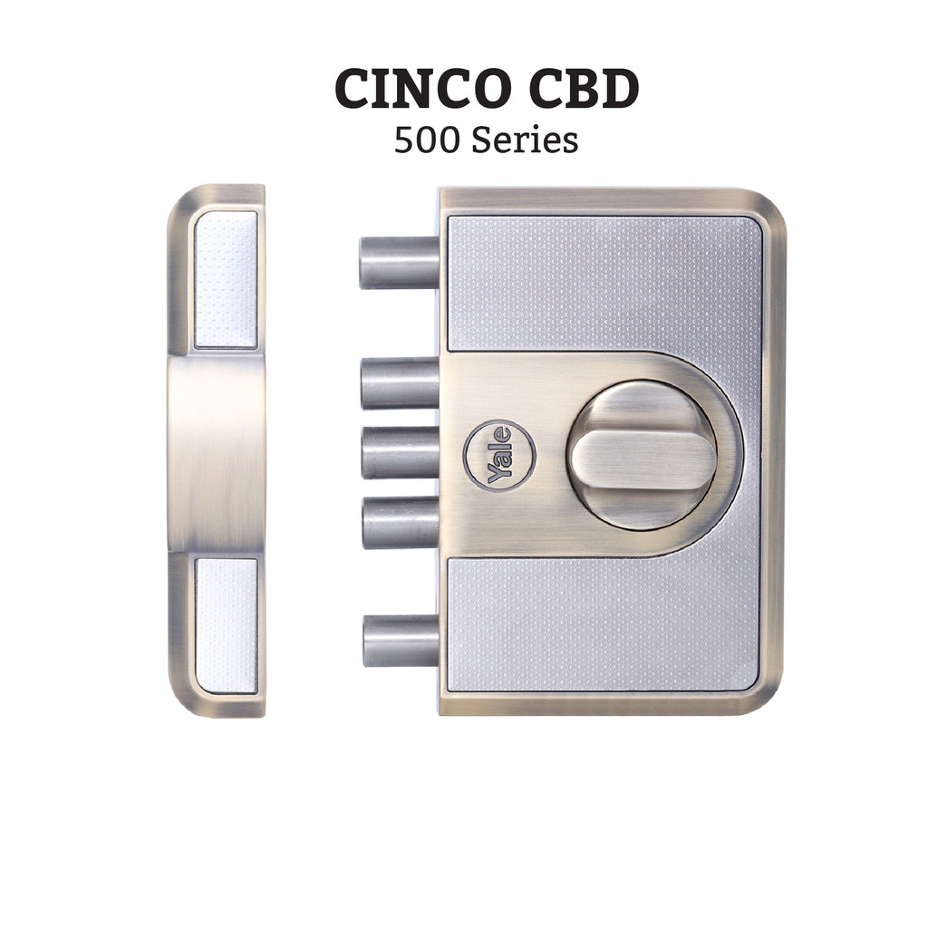 CBD-Cinco 500 Series 5 Dead Bolt Lock, Knob Inside, Antique Brass - Yale Online