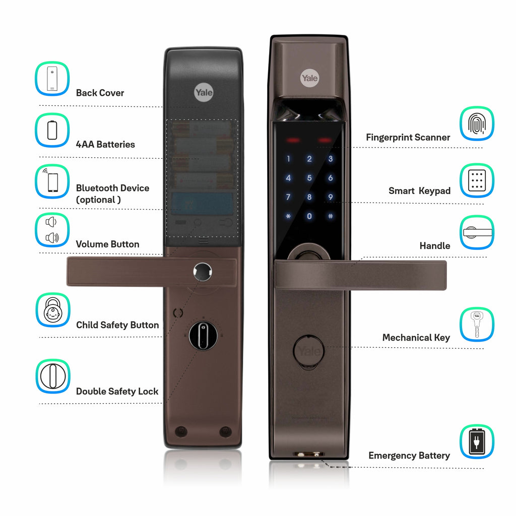 YDM 4115 -A Series, Biometric Smart Lock, Brown - Yale Online