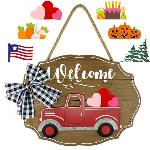 red truck welcome sign