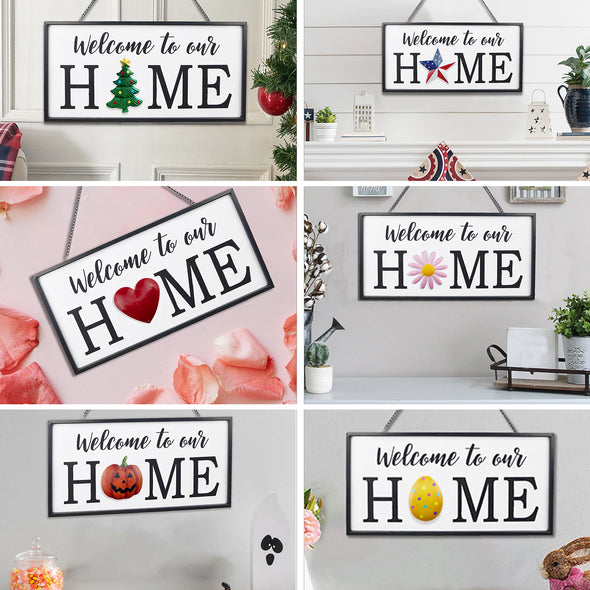 Welcome to Our Home Metal Sign, Set of 6