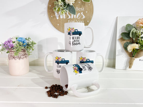 16 Ounce Ceramic Floral Truck Coffee Mug, Set of 4
