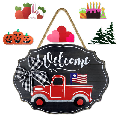 Plaid Bow Truck Sign, Interchangeable, Seasonal, 7 Pieces, Black