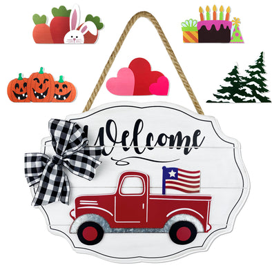 Plaid Bow Truck Sign, Interchangeable, Seasonal, 7 Pieces, White