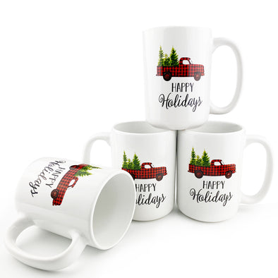16 Ounce Ceramic Christmas Truck Coffee Mug, Set of 4