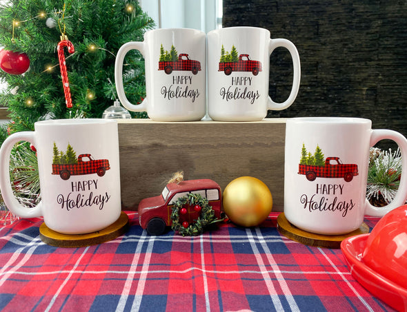 16 Ounce Ceramic Red Truck Coffee Mug, Set of 4