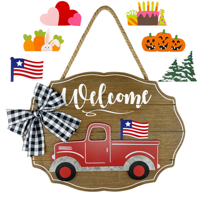 Plaid Bow Truck Sign, Interchangeable, Seasonal, 7 Pieces, Natural