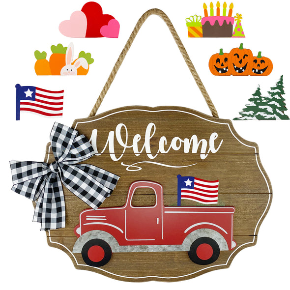 Plaid Bow Truck Sign, Interchangeable, Seasonal, 7 Pieces