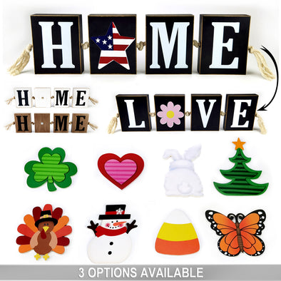 Home & Love Block Sign, 11 Pieces