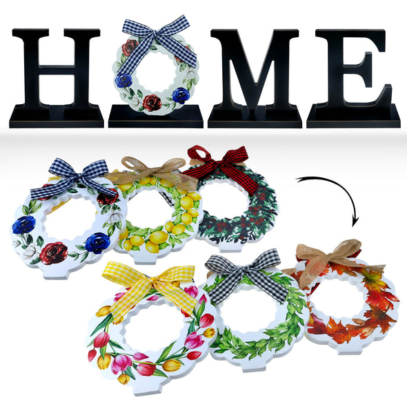 Home Sign with Interchangeable O Wreaths