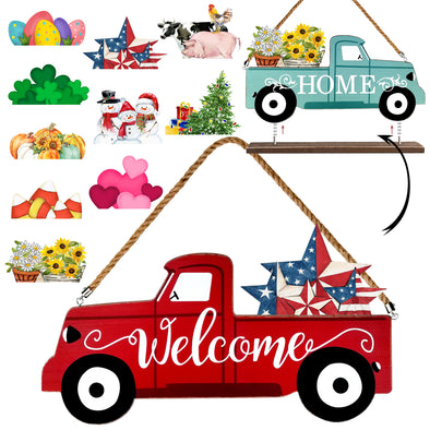 Truck Welcome Home Sign, Interchangeable, Seasonal, 12 Pieces