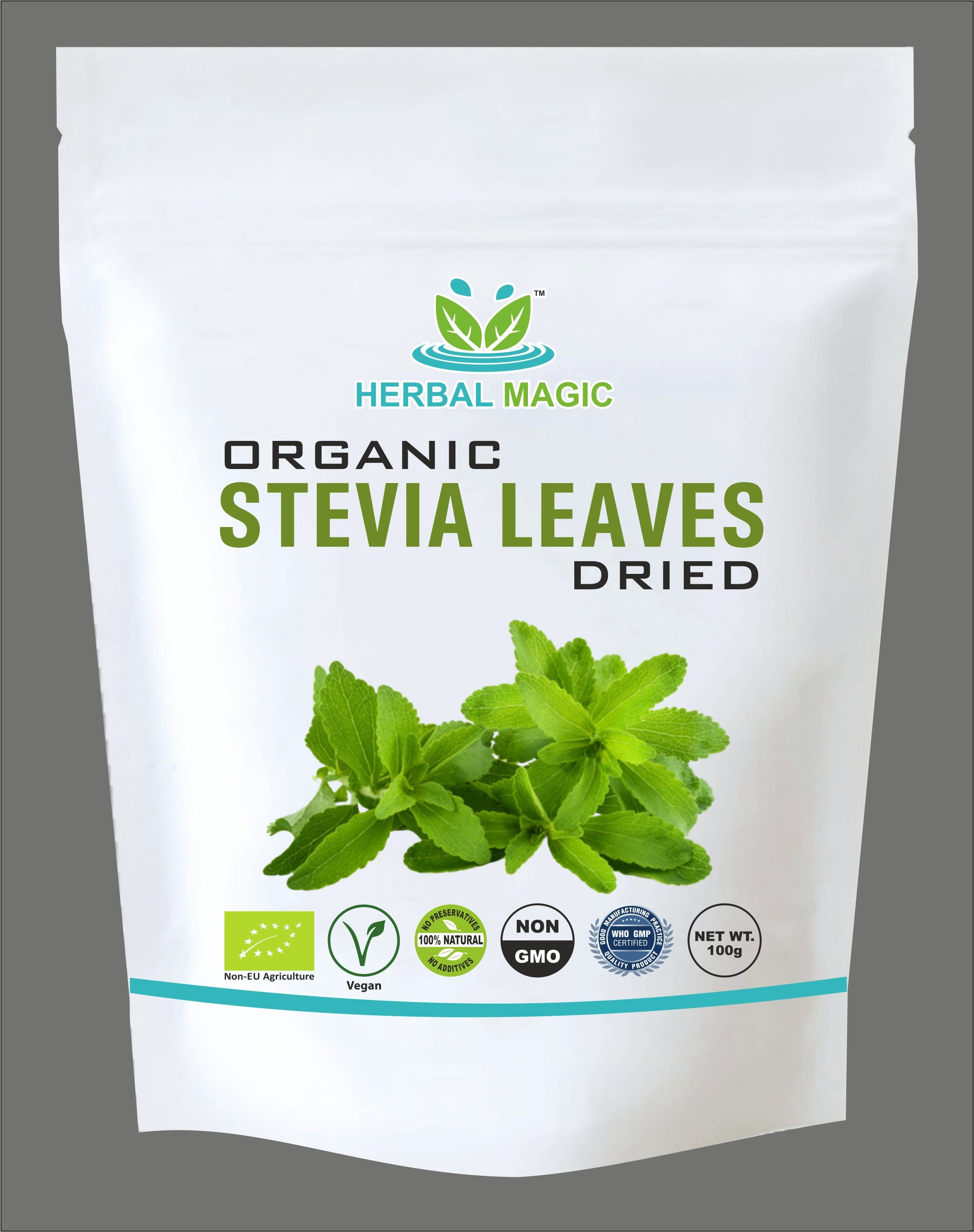 Organic Stevia Dried Leaf Sweetener - No Added Flavour/Aspartame/Saccharin -100g