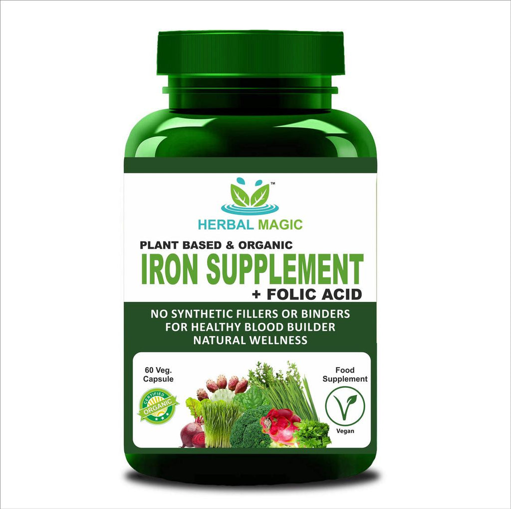 Certified Organic Plant Based Iron Supplement Boost - Rich source of Vitamins, Dietary Fibres, Minerals, Protein and Phytonutrients- 60 Veg Capsules