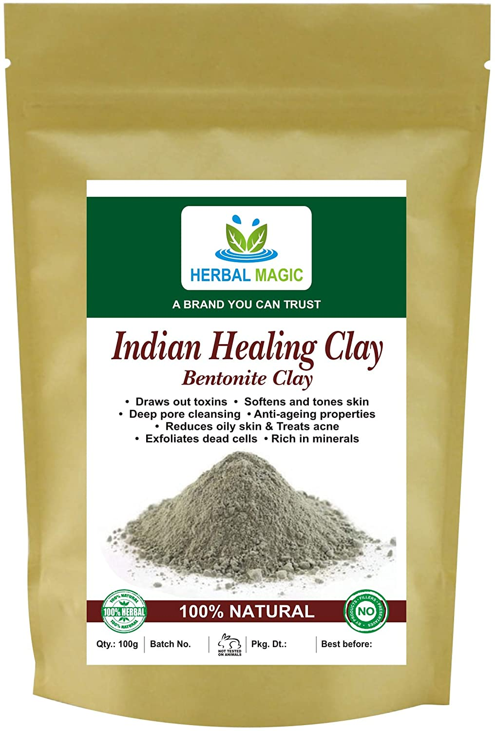 Herbal Magic Indian Healing Clay Skin Care Powder - Rich In Minerals & Anti-aging Properties - Softens & Tones Skin, Treats Acne, Dead Cells & Toxins - Natural Bentonite Clay Mask for Oily Skin, 100g
