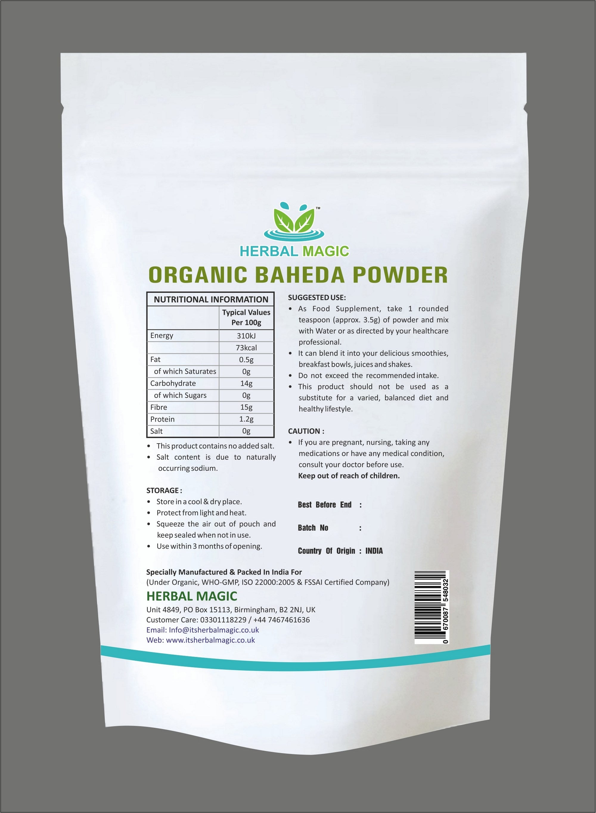 Organic DEHYDRATED BAHEDA Fruit Powder (Terminalia bellirica ) (NOT Treated/ tinctured extracts) Herbal Weight Loss Whole Plant Used - 100g