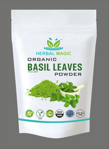 100g Certified Organic Holy Basil Powder (Tulsi Leaves Powder) Boosts Immunity
