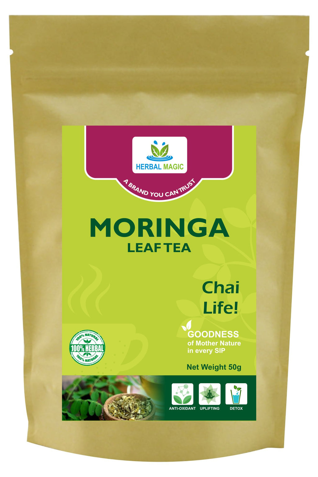 Herbal Magic Moringa Leaves Tea - Pure Antioxidant Superfood - Herbal Moringa Leaves - Non-GMO, Vegan Free, Gluten Free, Tea, 50g