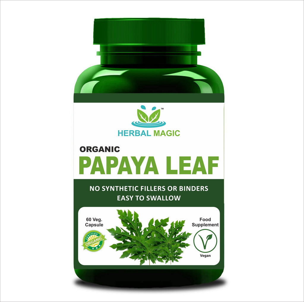 Pure & Natural Papaya Leaf Capsules (60) Supports Platelets Immunity Digestion