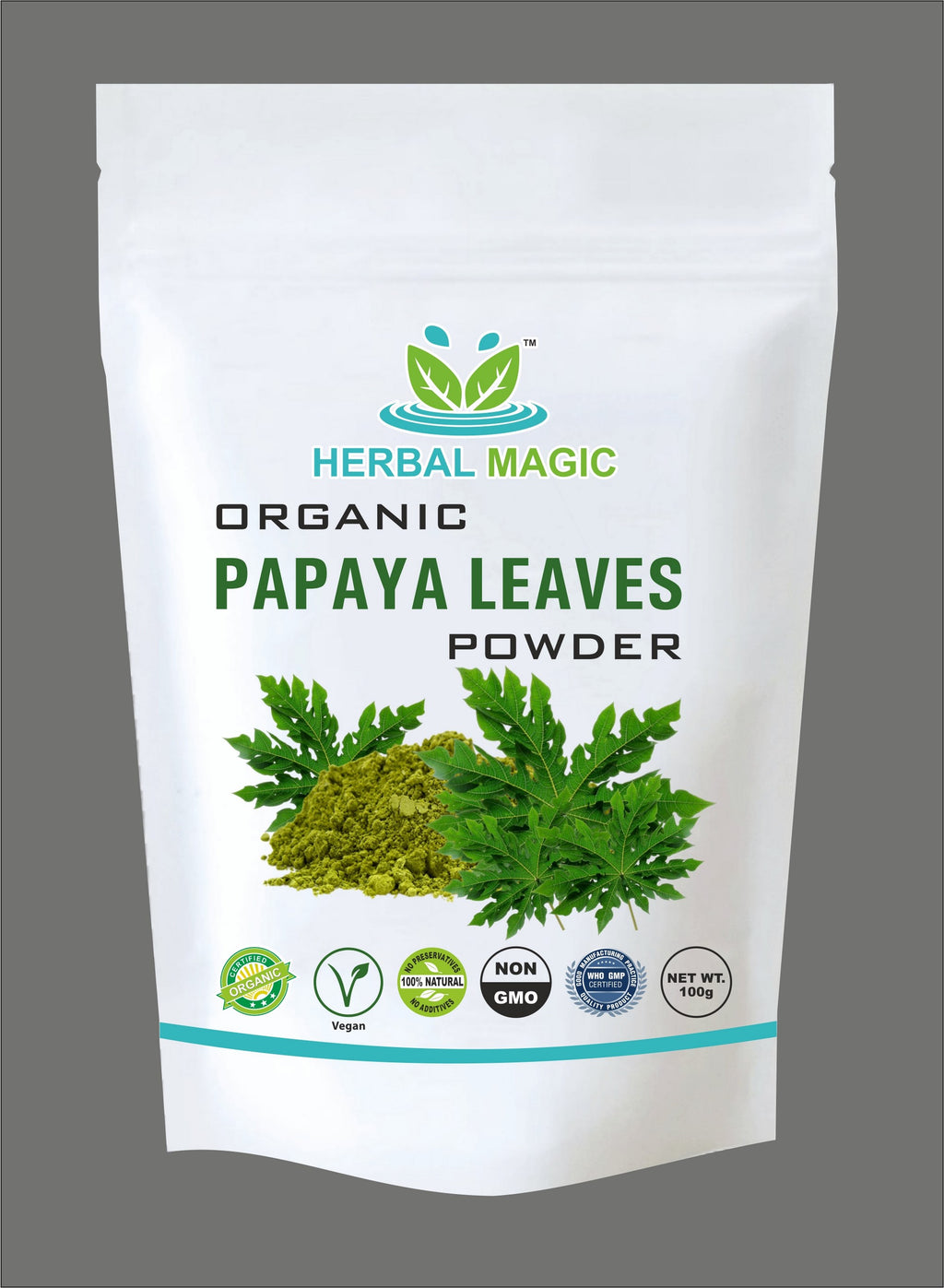 Please Select one - Certified Organic Papaya Leaf Powder (100g) or Capsule (60) - Vitamin C A Calcium Iron - Whole Plant Used