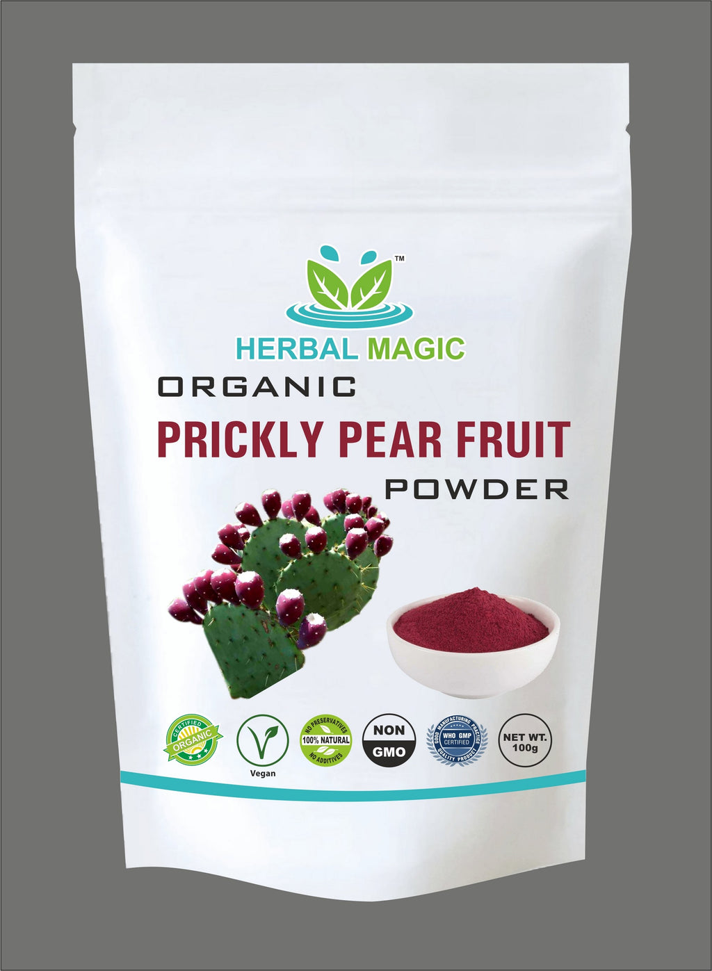 Please select one - Certified Organic Prickly pear Fruit Powder (100g) or Capsules (60) - Rich in Calcium, Vitamin C A Minerals - Whole Plant Used