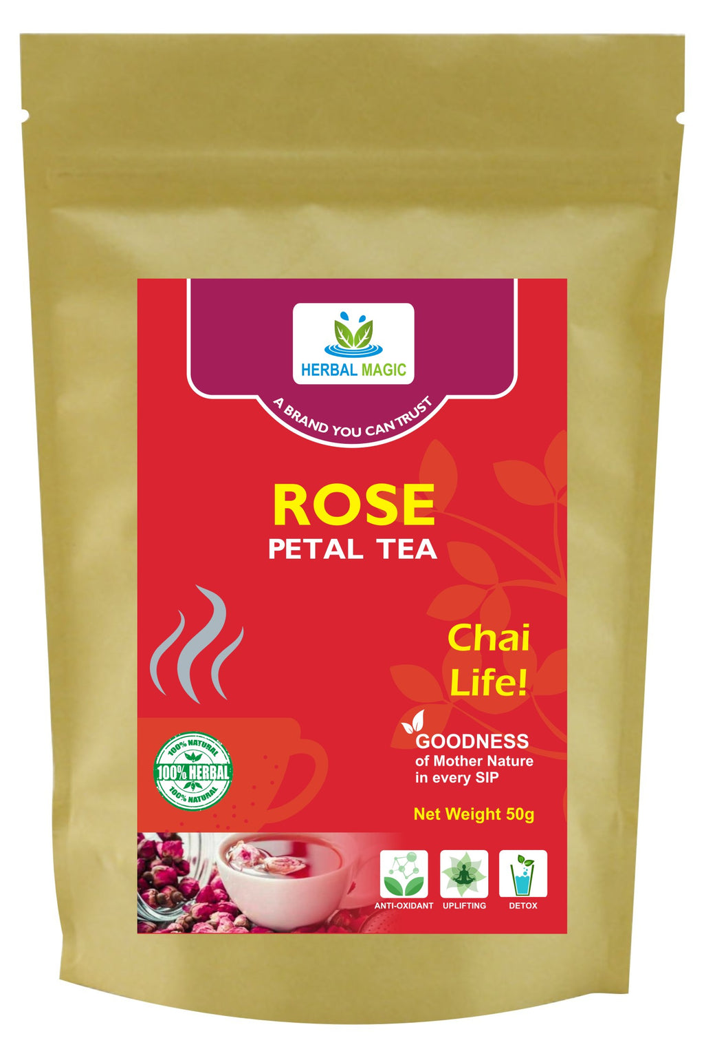 Herbal Magic Rose Petal Loose Leaf Tea - Caffeine Free Herbal Tea - 100% Natural Healthy Rose Flower Tea - Non-GMO, Vegan Free, Tea Pack, 50g