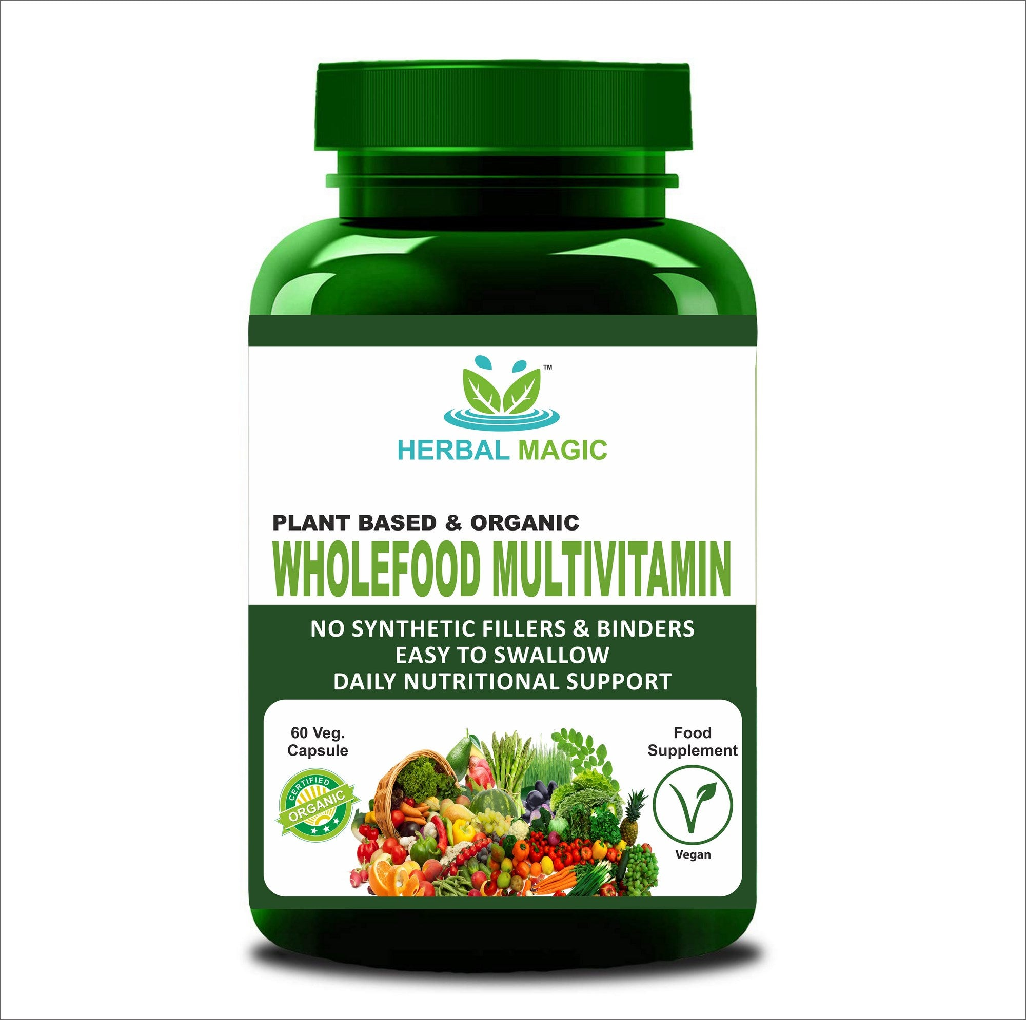 100% Pure & Natural Wholefood Multivitamins Capsules - 60 CAPS IMMUNITY STRESS DETOX