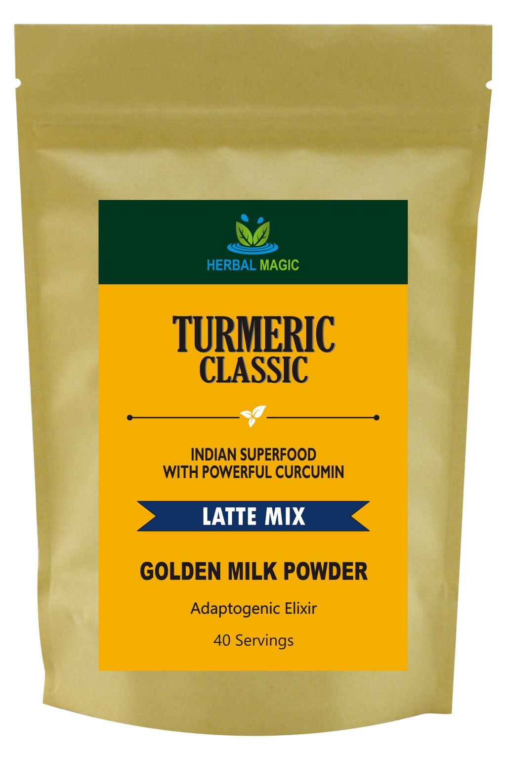 Herbal Magic Turmeric Classic Latte Mix - 100% Organic Indian Superfood With Powerful Curcumin - Golden Milk Powder, 100g