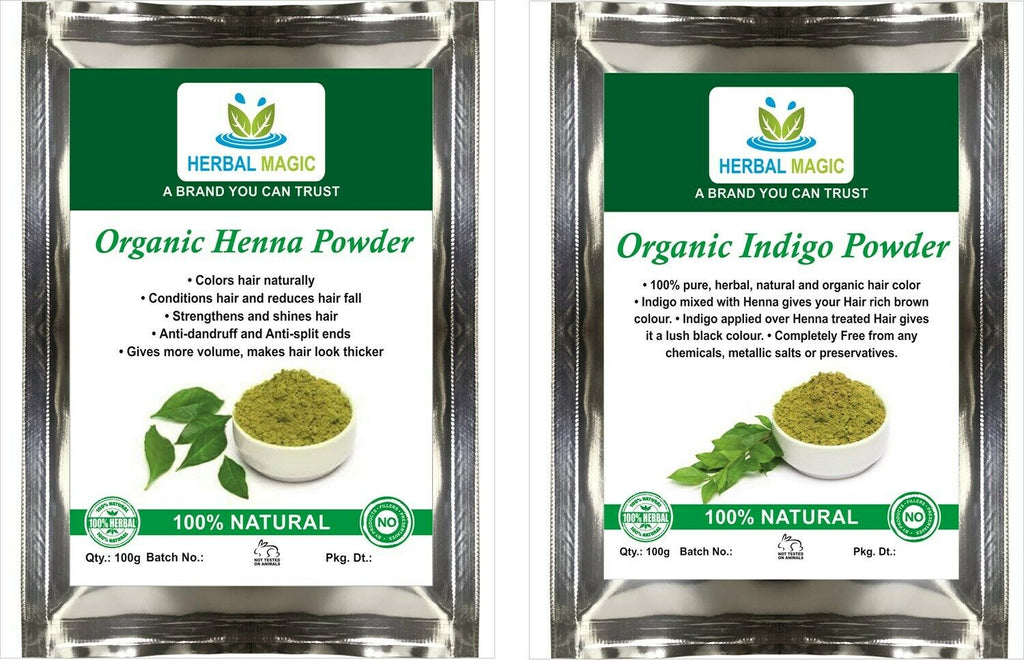 USDA Certified Organic Henna Powder 100g + Indigo Powder 100g Natural Hair Color