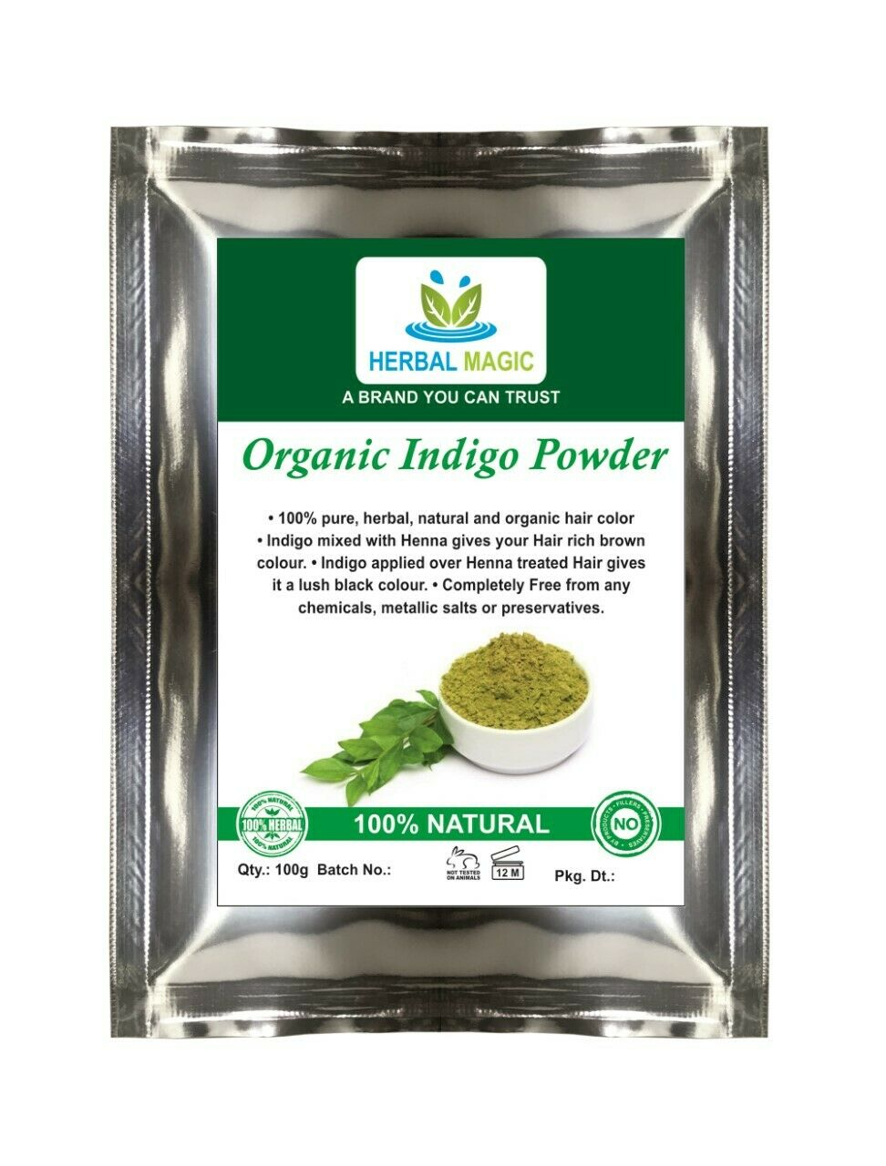 100% PURE NATURAL& PESTICIDE FREE 500G ORGANIC CERTIFIED INDIGO POWDER HAIR DYE