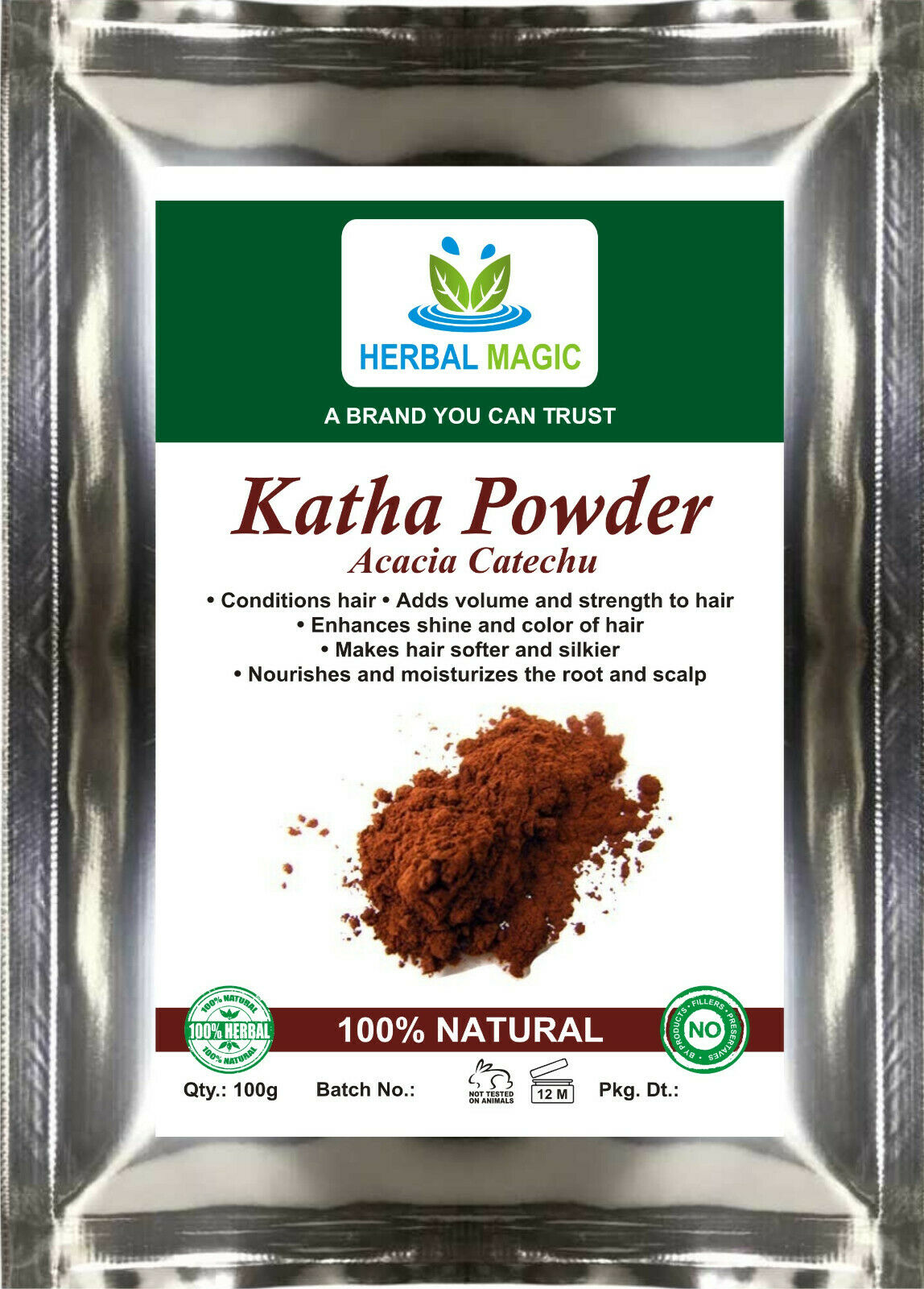 100g Katha Powder(Acacia Catechu) For Hair colour,Conditioner Mix It With Henna