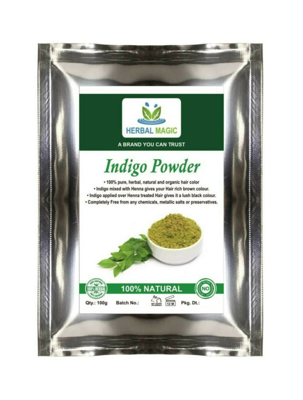 Organic Indigo Powder, Simply mix with Henna For Brown/Black hair color