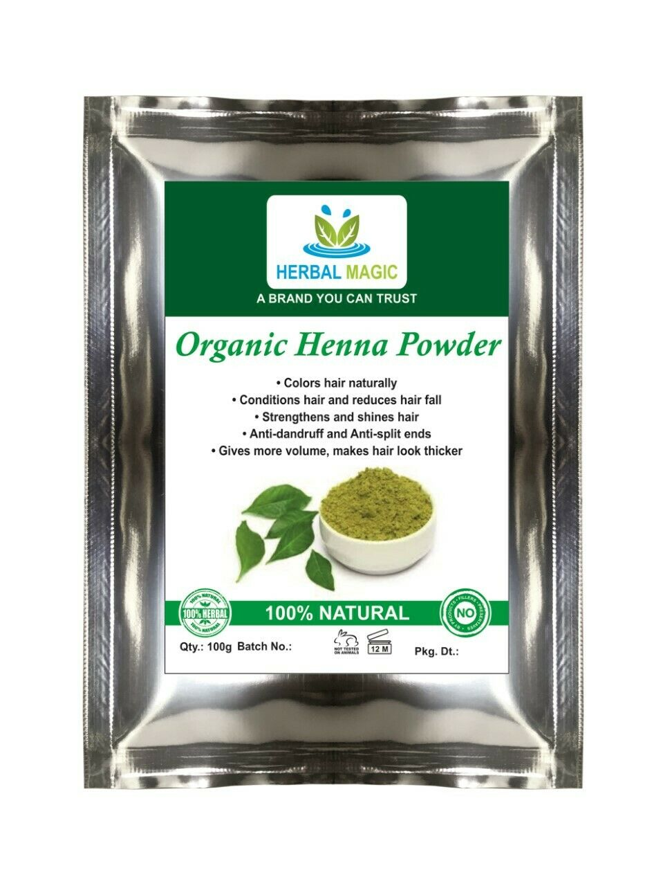 100g-1kg Organic Henna Powder, Simply mix with indigo For Brown/Black Hair Color